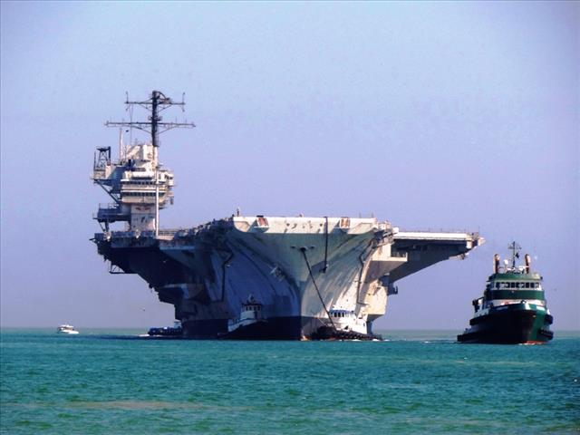 STATUS OF USS FORRESTAL: AVT-59 FEB 18 2014 arriving 69 bow